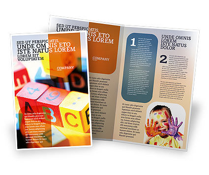 ABC Educational Cubes Brochure Template, 01600, Education & Training — PoweredTemplate.com