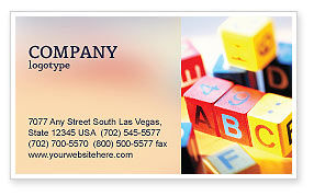 ABC Educational Cubes Business Card Template, 01600, Education & Training — PoweredTemplate.com
