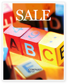 Education & Training: ABC Educational Cubes Sale Poster Template #01600