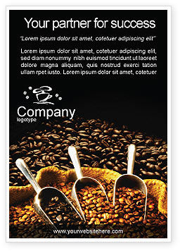 Food & Beverage: Coffee Beans In A Bag Ad Template #01613