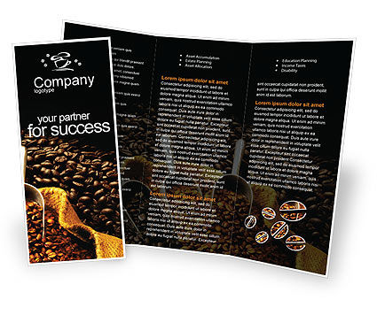 Coffee Beans In A Bag Brochure Template, 01613, Food & Beverage — PoweredTemplate.com