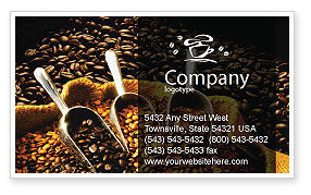 Coffee Beans In A Bag Business Card Template, 01613, Food & Beverage — PoweredTemplate.com