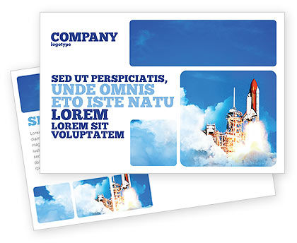 Construction: Space Research Postcard Template #01634