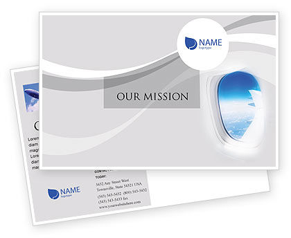 Cars/Transportation: Airplane Postcard Template #01635