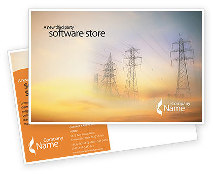 Power Line Postcard Template, 01638, Utilities/Industrial — PoweredTemplate.com