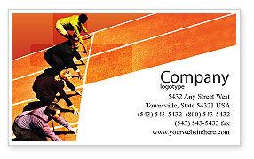 Business Concepts: Office Race Business Card Template #01651