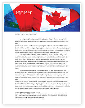 Flags/International: Canadese Vlag Briefpapier Template #01654