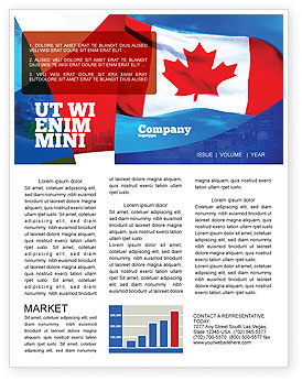 Flags/International: Canadian Flag Newsletter Template #01654