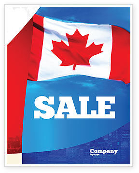 Canadian Flag Sale Poster Template, 01654, Flags/International — PoweredTemplate.com