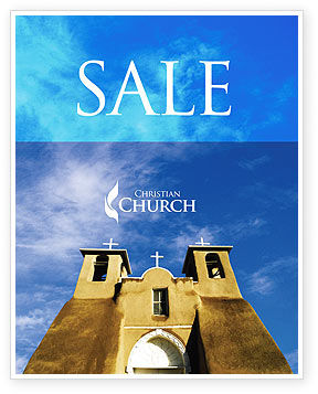 San Francisco de Asis Mission Church Sale Poster Template, 01655, Religious/Spiritual — PoweredTemplate.com