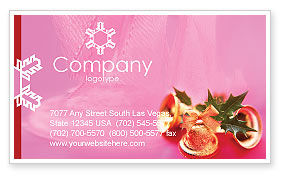 Holiday/Special Occasion: Christmas Bells On A Pink Background Business Card Template #01679