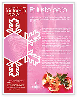 Holiday/Special Occasion: Christmas Bells On A Pink Background Flyer Template #01679