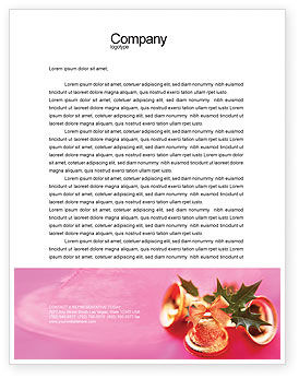 Holiday/Special Occasion: Christmas Bells On A Pink Background Letterhead Template #01679