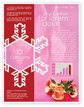 Holiday/Special Occasion: Christmas Bells On A Pink Background Newsletter Template #01679