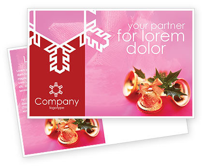 Holiday/Special Occasion: Christmas Bells On A Pink Background Postcard Template #01679