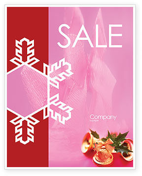 Holiday/Special Occasion: Christmas Bells On A Pink Background Sale Poster Template #01679