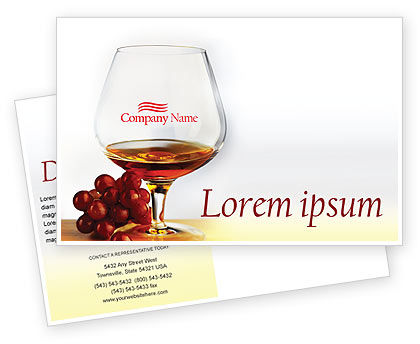 Food & Beverage: Brandy Postcard Template #01692