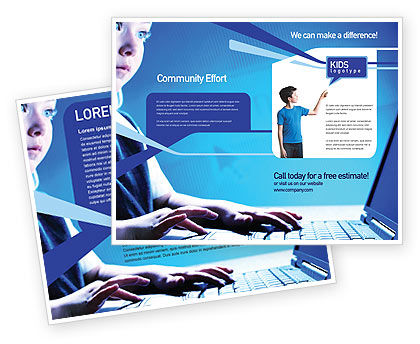 Technology, Science & Computers: Computer and Kid Brochure Template #01695