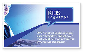 Technology, Science & Computers: Computer and Kid Business Card Template #01695