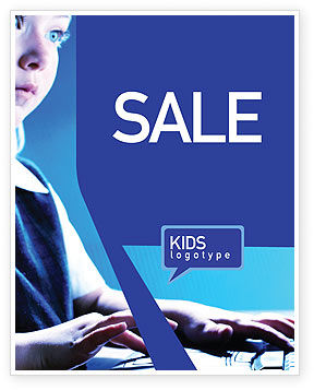 Computer and Kid Sale Poster Template, 01695, Technology, Science & Computers — PoweredTemplate.com