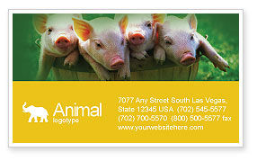 Agriculture and Animals: Pig Business Card Template #01708