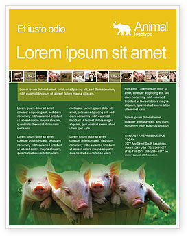 Pig Flyer Template, 01708, Agriculture and Animals — PoweredTemplate.com