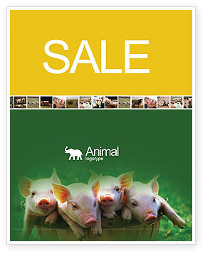 Agriculture and Animals: Pig Sale Poster Template #01708