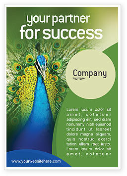 Peacock Ad Template, 01711, Agriculture and Animals — PoweredTemplate.com