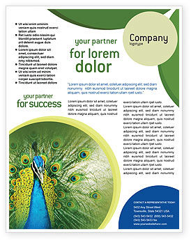Peacock Flyer Template, 01711, Agriculture and Animals — PoweredTemplate.com