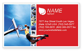 Sports: Flying Basketballer Business Card Template #01713