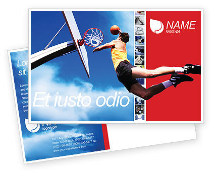 Flying Basketballer Postcard Template, 01713, Sports — PoweredTemplate.com