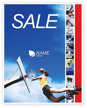 Sports: Flying Basketballer Sale Poster Template #01713