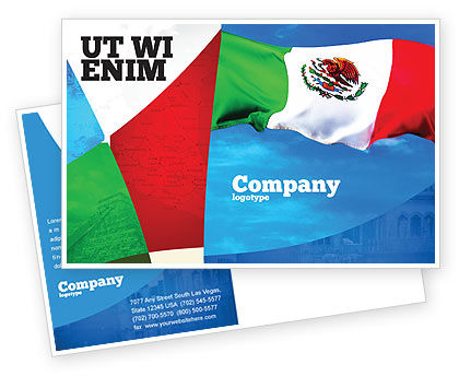 Flags/International: Mexican Flag Postcard Template #01716