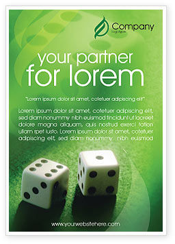 Art & Entertainment: Dice On A Green Cloth Ad Template #01735