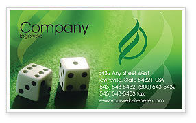 Art & Entertainment: Dice On A Green Cloth Business Card Template #01735
