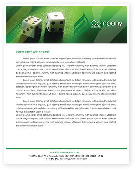 Art & Entertainment: Dice On A Green Cloth Letterhead Template #01735
