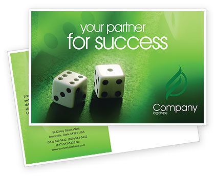 Art & Entertainment: Dice On A Green Cloth Postcard Template #01735