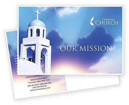 Religious/Spiritual: Belfry Postcard Template #01739
