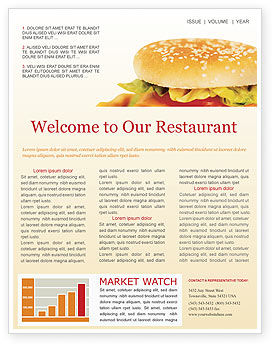Fast Food Newsletter Template, 01741, Food & Beverage — PoweredTemplate.com