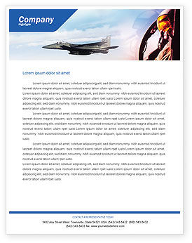 Fighter Aircraft Letterhead Template, 01747, Military — PoweredTemplate.com