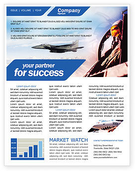 Fighter Aircraft Newsletter Template, 01747, Military — PoweredTemplate.com