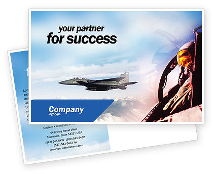 Military: Fighter Aircraft Postcard Template #01747