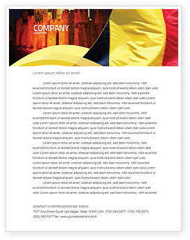Flags/International: Belgische Vlag Briefpapier Template #01751