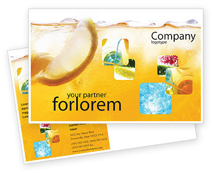 Cocktail Party Postcard Template, 01765, Food & Beverage — PoweredTemplate.com
