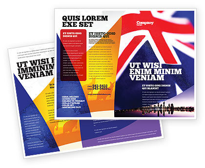 Flags/International: Australian Flag Brochure Template #01774