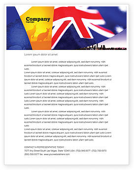 Flags/International: Australian Flag Letterhead Template #01774