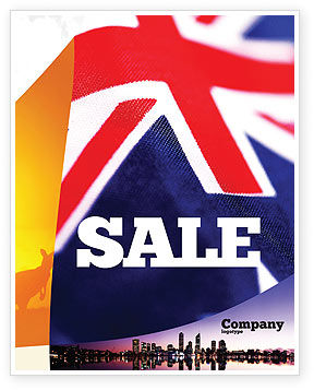 Australian Flag Sale Poster Template, 01774, Flags/International — PoweredTemplate.com