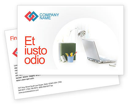 White Space With Laptop Postcard Template, 01783, Technology, Science & Computers — PoweredTemplate.com