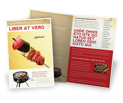 Barbeque Brochure Template, 01794, Food & Beverage — PoweredTemplate.com