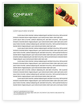 Barbeque Letterhead Template, 01794, Food & Beverage — PoweredTemplate.com